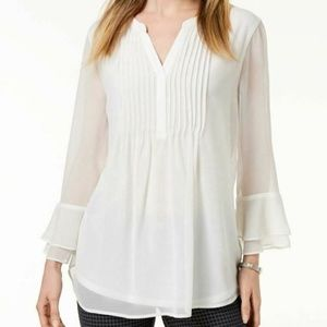 Charter Club S Off White Solid Blouse Top 4V24
